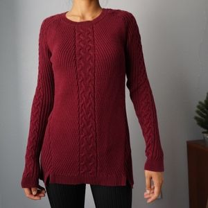 Nautica Long Burgundy Cable Knit Sweater